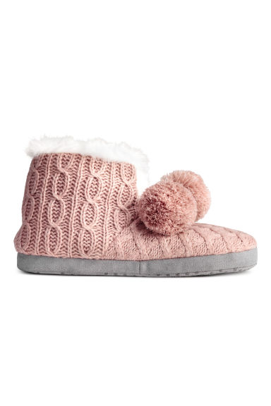 Knitted slippers - 暗粉红 - Ladies | H&M CN 1