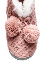 Knitted slippers - 暗粉红 - Ladies | H&M CN 3