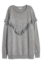 Oversized frilled jumper - Grey marl - Ladies | H&M CN 2