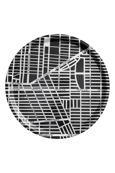 Round tray - Black/City Map - Home All | H&M CN 1