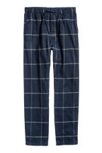 Cotton flannel pyjama bottoms - Dark blue/Checked - Men | H&M CN 2