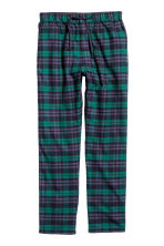 Cotton flannel pyjama bottoms - Dark green/Checked - Men | H&M CN 2
