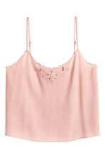 Embroidered strappy top - Powder pink - Ladies | H&M CN 2