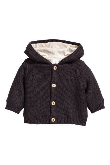 Hooded cotton cardigan - Nearly black - Kids | H&M CN 1