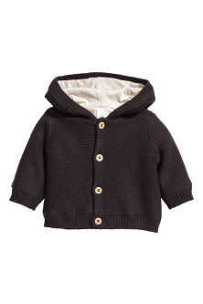 Hooded cotton cardigan