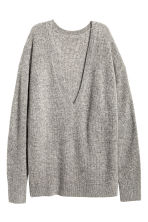 V-neck cashmere jumper - Grey marl -  | H&M CN 2