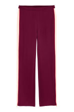 Wide trousers with side stripe - Burgundy/Powder -  | H&M GB 2