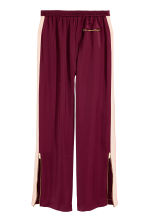 Wide trousers with side stripe - Burgundy/Powder -  | H&M GB 3