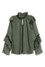 Crinkled flounced blouse - Dark green -  | H&M GB 2