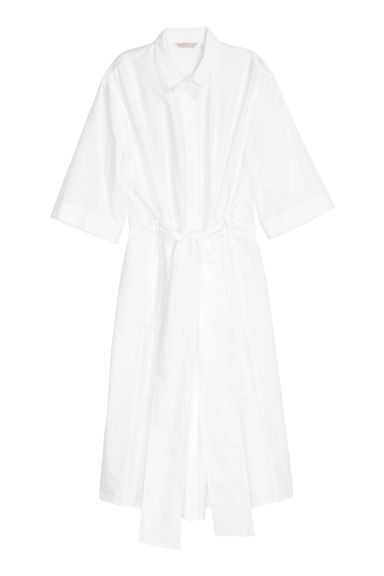 Cotton shirt dress - White - Ladies | H&M CN
