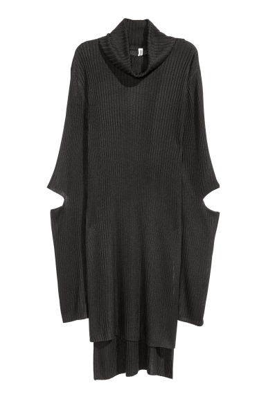 Rib-knit polo-neck jumper - Black -  | H&M