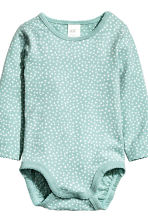 2-pack long-sleeved bodysuits - Mint green/Spotted - Kids | H&M CN 2