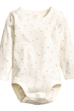 2-pack long-sleeved bodysuits - Natural white/Stars - Kids | H&M CN 2