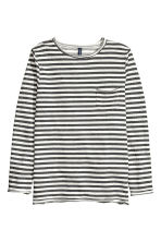 Sweatshirt with a chest pocket - Black/White/Striped - Men | H&M CN 2