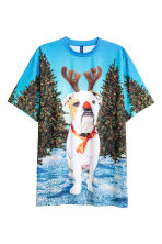 Christmas-motif T-shirt - Turquoise/Christmas dog - Men | H&M CN 2