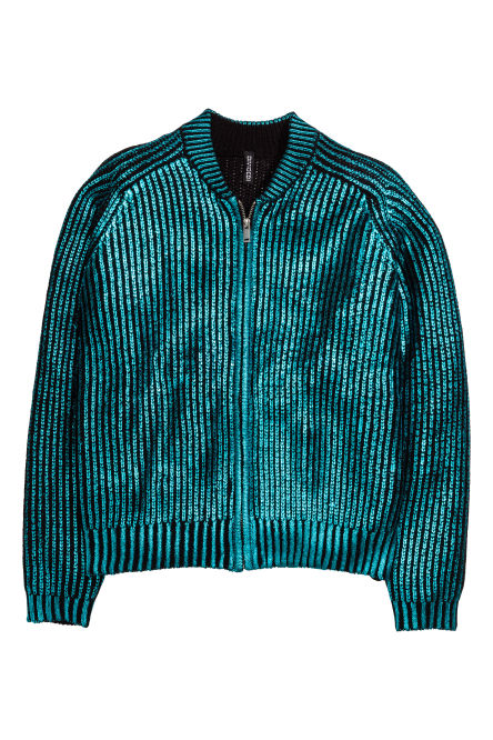 Metallic-print cardigan