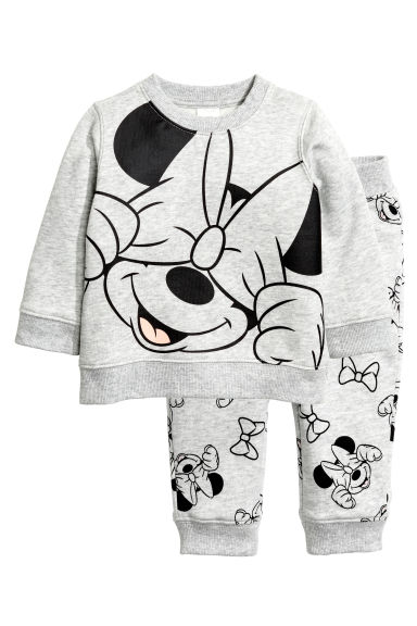 Sweatshirt and trousers - Light grey/Minnie Mouse - Kids | H&M CN