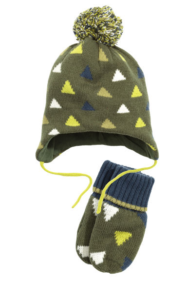 Hat and mittens - Khaki green - Kids | H&M CA