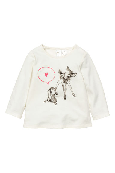 Printed long-sleeved top - White/Bambi - Kids | H&M CN 1