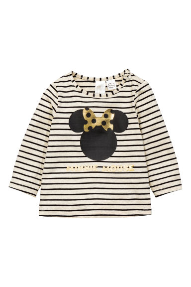 Printed long-sleeved top - Light beige/Minnie Mouse - Kids | H&M CN 1