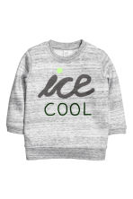 Pile-lined sweatshirt - Grey marl - Kids | H&M CN 1
