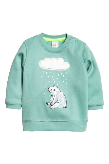 Pile-lined sweatshirt - Dusky green - Kids | H&M CN