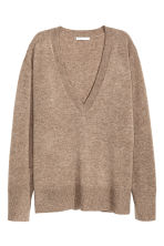 Pullover a V in cashmere - Beige scuro mélange - DONNA | H&M IT 2