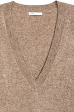 V-neck cashmere jumper - Dark beige marl - Ladies | H&M CN 3