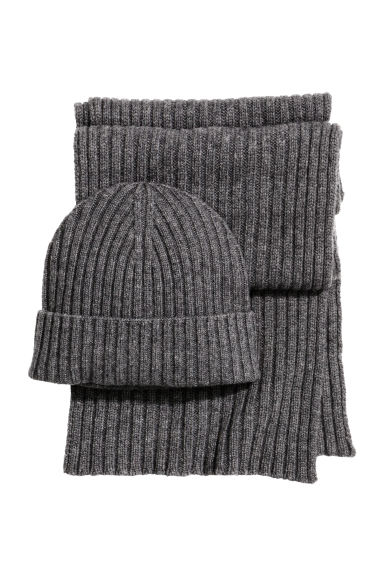 Cashmere-blend hat and scarf - Dark grey marl - Men | H&M