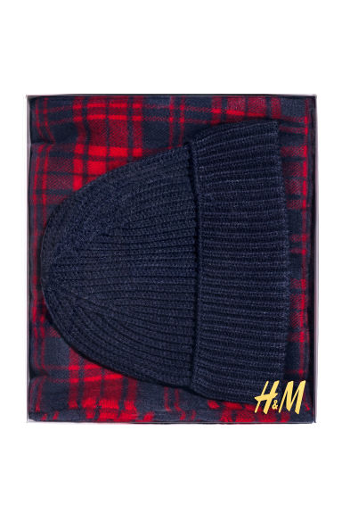 Hat and scarf - Dark blue/Red/Checked - Men | H&M 1