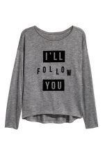 Printed jersey top - Dark grey marl - Kids | H&M CN 2