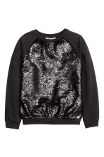 Sequined sweatshirt - Black -  | H&M CN 2