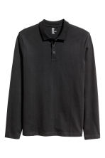 Long-sleeved polo shirt - Black - Men | H&M CN 2