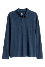 Long-sleeved polo shirt - Dark blue marl - Men | H&M CN 2