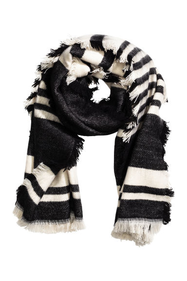 Jacquard-weave scarf - Black/Striped - Ladies | H&M CN 1