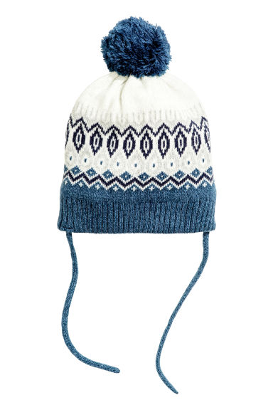 Jacquard-knit hat - White/Blue - Kids | H&M CN 1