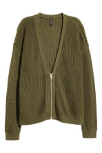 Knitted cardigan - Khaki green -  | H&M CN 2