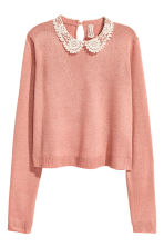 Jumper with a lace collar - Old rose - Ladies | H&M CN 2