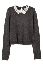 Jumper with a lace collar - Dark grey - Ladies | H&M CN 2