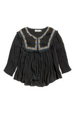 Embroidered blouse - Black - Ladies | H&M CN 2