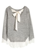 Jumper with lace trims - Grey marl - Ladies | H&M 3