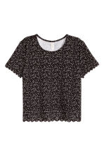 Top with a scalloped trim - Black/Small floral - Ladies | H&M CN 2