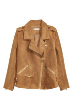 Imitation suede biker jacket - Dark camel - Ladies | H&M CA 2