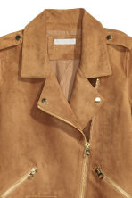 Imitation suede biker jacket - Dark camel - Ladies | H&M CA 4