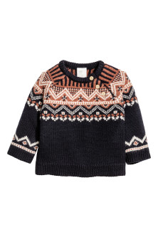 Jacquard-knit wool jumper