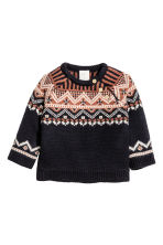 Jacquard-knit wool jumper - Dark grey - Kids | H&M CN 1