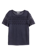Jersey top with lace - Dark blue - Ladies | H&M CN 1