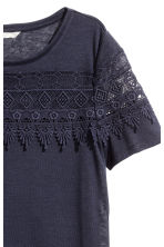Jersey top with lace - Dark blue - Ladies | H&M CN 2