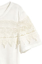 Jersey top with lace - White - Ladies | H&M CN 3