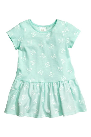 Patterned jersey dress - Mint green/Butterflies - Kids | H&M CN 1